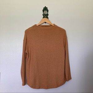 Old Navy Relaxed Plush Camel Mock Neck Sweater